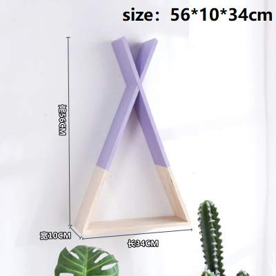 HEQEDW Nordic Style Wooden Triangle Shelf Lovely Colors Shelf Wall Hanging Trigon Storage Book Shelf Home Kids Baby Room DIY Decor Gift Violet