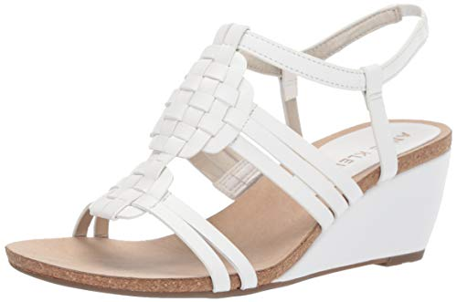 Anne Klein Women's Tilly Wedge Sandal, White, 7.5 M US