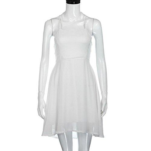 Mini vestido de las mujeres, Ularma de moda de fiesta de las mujeres cóctel sin mangas vendaje Blanco