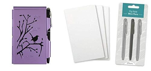 Wellspring Flip Note Notepad Set: Plum Wren Flip Note, 3 Flip Note Refill Pads and a 3 Mini Pen Refill