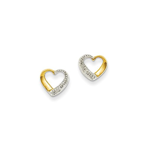 14k Yellow Gold & Rhodium AA Diamond Diamond Heart Post Earrings (Earrings Heart 14k Gold Diamond)