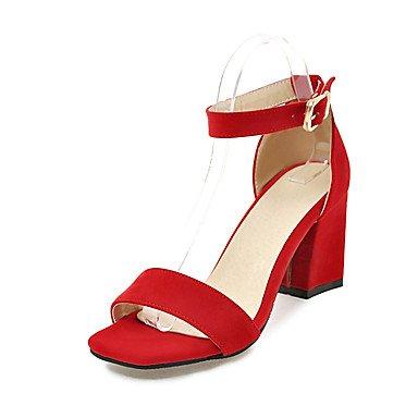LvYuan Mujer Sandalias Confort Pump Básico Sintético Verano Boda Confort Pump Básico Tacón Robusto Negro Beige Gris Rojo 5 - 7 cms ruby