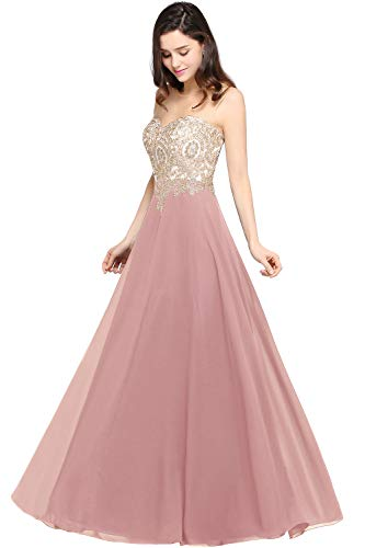 MisShow Long Chiffon Gold Lace Prom Ball Gowns for Women Formal Dusty Pink 8