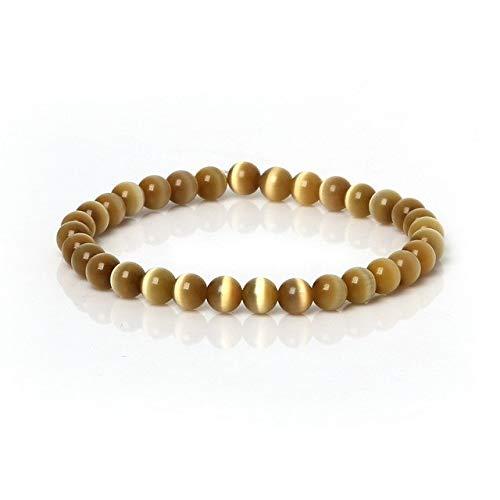 - Gabcus New Arrival 6mm Cat's Eye Beads Bangles Cat's Eye Bracelet Charm Elasticity Rope Men Women Jewelry Findings - (Metal Color: Brown)