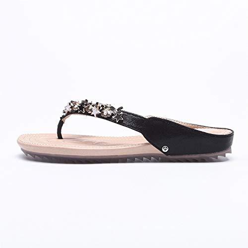 Nero Dimensione EU donna Infradito a 42 sandali con di piatti grandi Oro dita stella con forma da Colore ZHRUI UWRAA