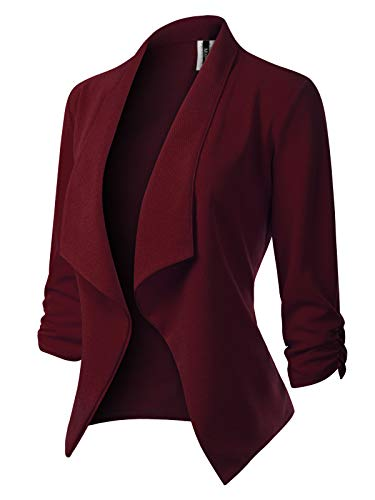 MixMatchy Women's [Made in USA] Classic 3/4 Gathered Sleeve Open Front Blazer Jacket (S-3XL) Burgundy 1XL