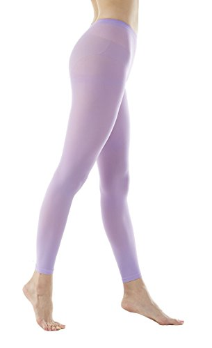 Women's 80Denier Semi Opaque Solid Color Footless Pantyhose Tights 2pair or 6pair (S/M, Lavender) (Denier Tights Footless)