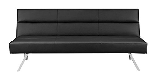 Modern Sectional Daybed (Premium Sofa Futon Couch, Modern Design W/ Rich Faux Leather, Sturdy Stainless Steel Legs and Comfortable Memory Foam Cushion, From Sofa to Bed in Seconds)