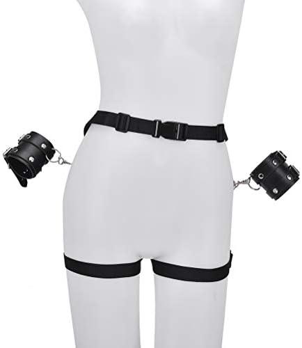 Healifty Womens Body Harness Handschellen Bettfesseln Handgelenksex Rollenspiel (Schwarz)