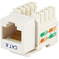 RJ45 CAT6 KEYSTONE JACKS - PUNCH DOWN (White)