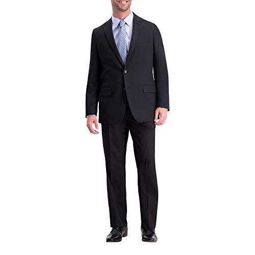 Haggar HZ00243 Men's Active Series Herringbone Classic Fit Suit, Black - 40 L