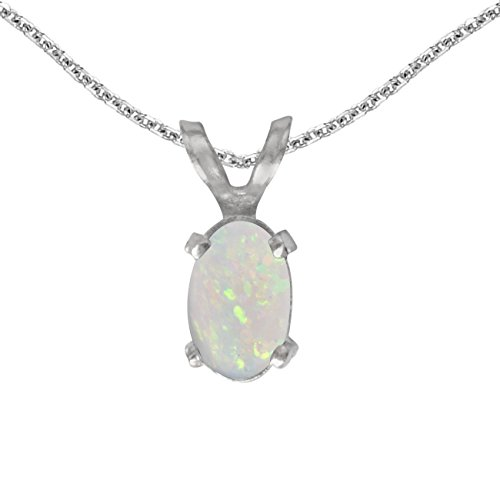 FB Jewels Solid 14k White Gold Genuine Birthstone Oval Opal Pendant (1/5 Cttw.)