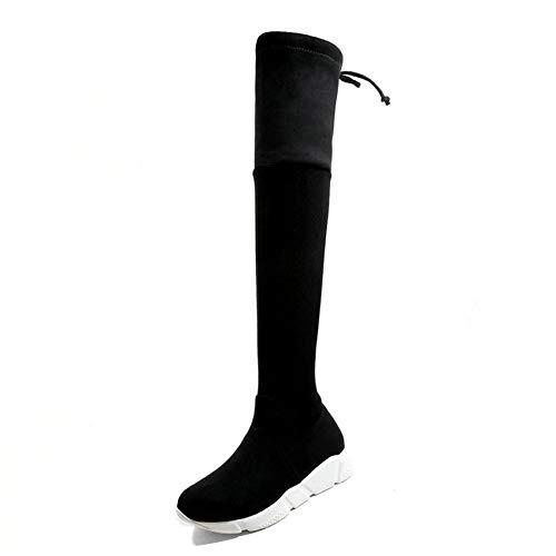 HAOLIEQUAN Winter Stiefel Damen Schuhe Mode Grau Schwarz Frauen Über Die Stiefel Alle Spiel Keile Heel Stiefel Größe 34-43