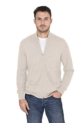 Cashmeren Men's Wool Cashmere Classic Knit Soft Full-Zip Mock Neck Pullover Sweater (Beige, Large)