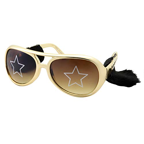 Elvis Costume Sunglasses with Side Burns - Adult Men's Size (Gold)]()