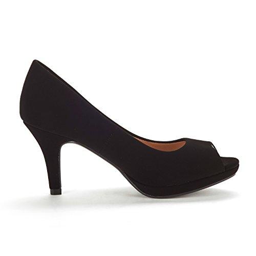 Nubuck PAIRS DREAM Shoes Stilettos Women's Toe City Pumps Peep OT Fashion Heels Black 7nnZwx