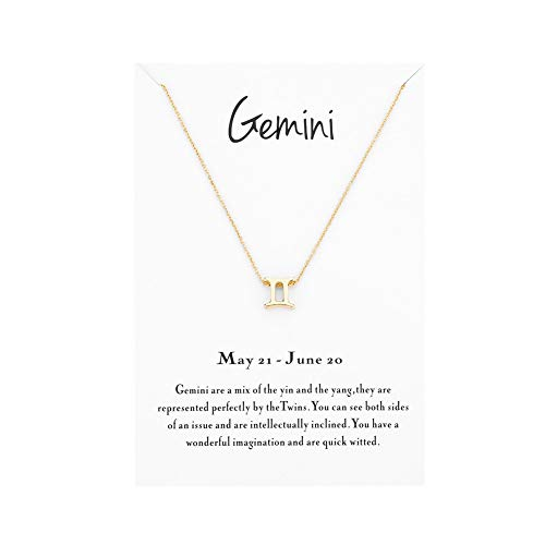 Mocya Gemini Zodiac Necklace Women Jewelry Horoscope Constellation Pendant Astrology Birthday Gifts