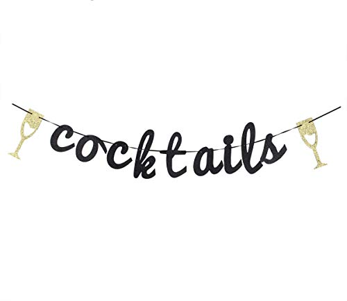 Glitter Cocktails Banner, Birthday Wedding Banner, Party Events Decorations, Party Supply Decor, Wedding Engagement Sign Photo Prop.