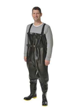 - Chest Waders, Steel Toe, Mens, 10, Black, PR