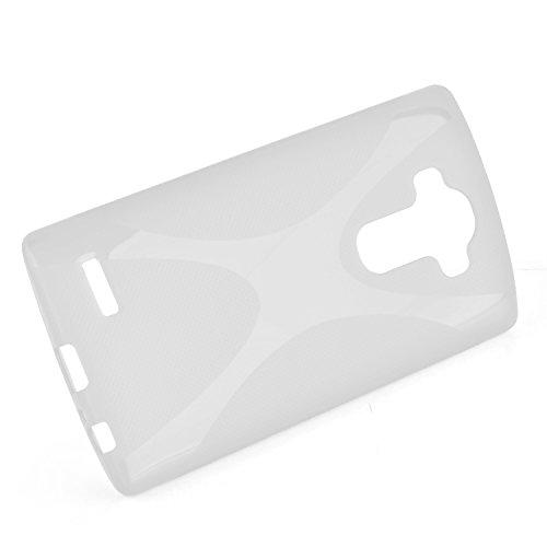 Cadorabo - LG G4 Cubierta protectora de silicona TPU en diseño X-Line - Case Cover Funda Carcasa Protección en ROJO-INFIERNO SEMI-TRANSPARENTE