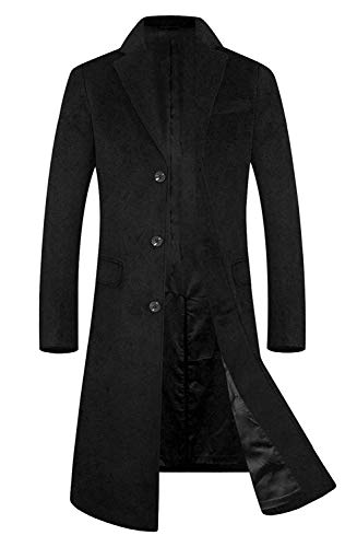 Men's Trench Coat Wool Blend French Long Jacket Business Top Coat Single Breasted 1801 Black XL