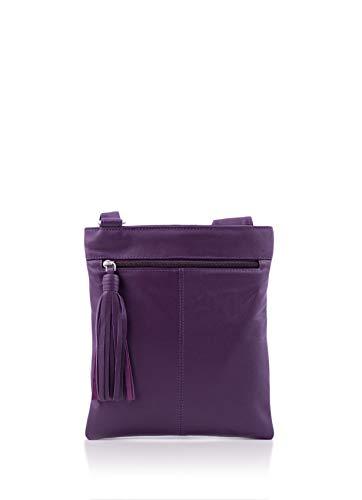 Alexis Cross Women's Bag Pocket Leather w Detail Grained Body Purple Tassel Soft dUIxU