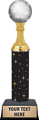 11 Inch Dance Disco Ball Trophies - Black Glimmer Modern Dance Disco Ball Trophy Awards Prime]()