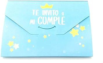 Paquete de invitación de cumpleaños Azul, Invitaciones Plegables, Escrito en español.