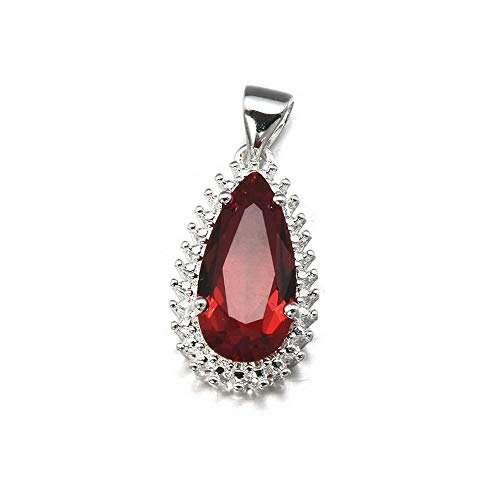 Hebel Women 925 Silver Natural Ruby Drop Necklace Pendant with Chain Fashion Jewelry | Model NCKLCS - 32255 |