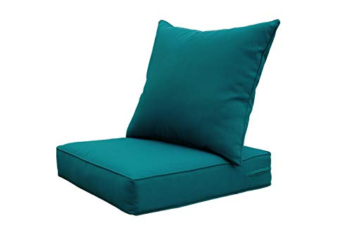 SewKer] Indoor/Outdoor Patio Deep Seat Cushion Set Teal/Peacock Blue/Green (Furniture Pride Patio)
