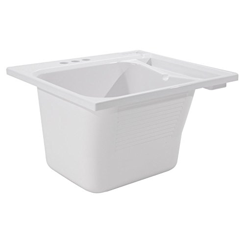 Small Laundry Sink - CASHEL Drop-In Sink - Essential Kit, White, 1970-20-01