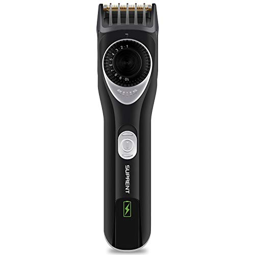 SUPRENT Beard Trimmer with Safety Lock, Body Groomer with 7 Built-in Adjustable Precise Lengths, Portable Travel Bag & USB Charging (BT355B-1)