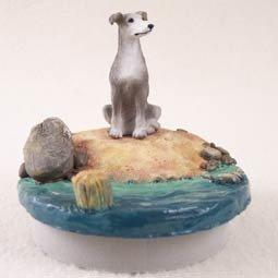 Gray Greyhound Candle Topper Tiny One ''A Day on the Beach'' by Conversation Concepts