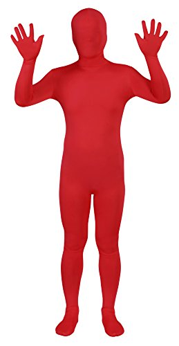 Sheface Spandex Full Bodysuit Zentai Costume (Small, Red)]()
