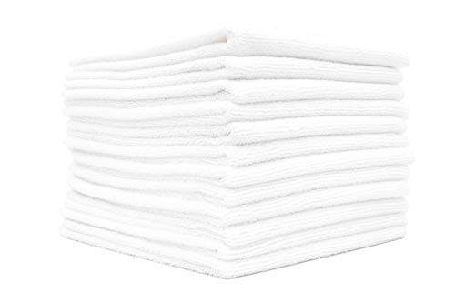 (12-Pack) 12 in. x 12 in. Commercial Grade All-Purpose Microfiber Highly Absorbent, LINT-Free, Streak-Free Cleaning Towels - THE RAG COMPANY (White) (The Best Cleaning Company)