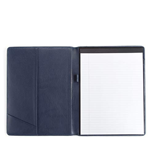 Leatherlogy Standard Padfolio with Pen Loop - Full Grain Leather - Navy (blue)
