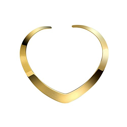Lancunque Women's Necklace Love Choker Collar Heart Shape with High Polished Stainless Steel (Yellow Gold) -
