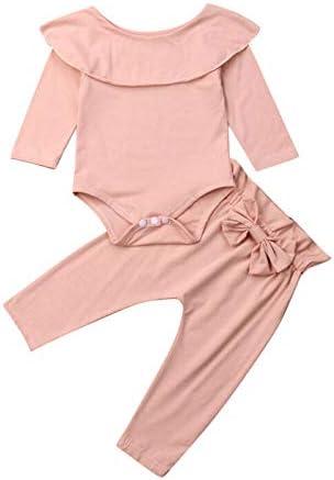 LIXIUQING Zweiteiliger Langarmhemdanzug mit gekräuseltem Stehkragen für Mädchen