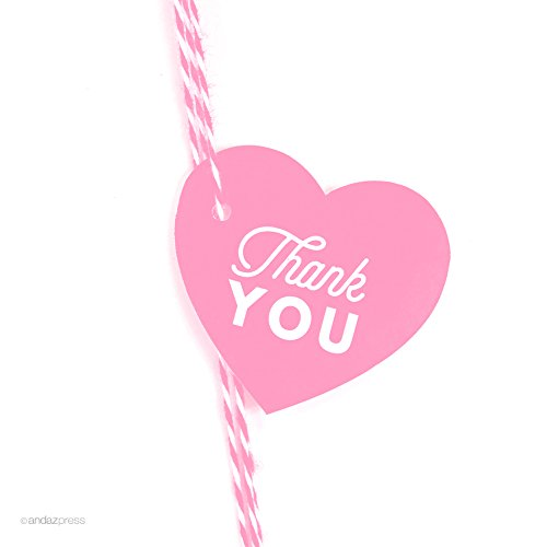 Andaz Press Heart Gift Tags, Chic Style, Thank You, Pink, 30-Pack