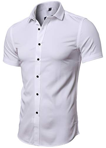 FLY HAWK Men's Fitted Solid Dress Shirts Button Down Short Sleeve Shirt, White, US M