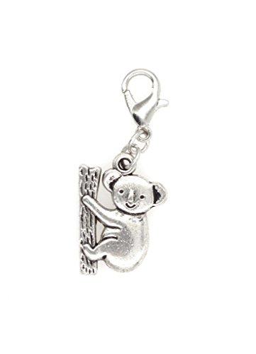 Koala Bear Bead - Koala Bear Clip On Charm Perfect for Necklaces and Bracelets (ZC 102Ag)
