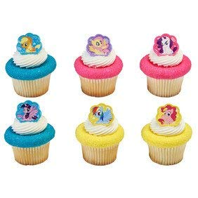 12 Count My Little Pony Cutie Beauty Cupcake Cake Rings Party Favors ()