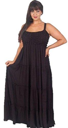 Maxi Smock (Lotustraders Dress Maxi Smock Spagetti Strap Baby Doll Midnight Black 3X D369)