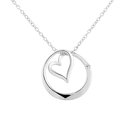 Sterling Silver Rhodium Plated Diamond Accent Open Heart in Circle Pendant Necklace, 18""