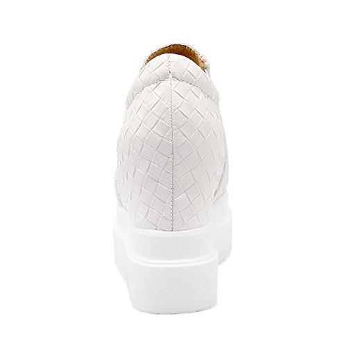 AllhqFashion Damen Rein PU Hoher Absatz Rund Zehe Elastic Band Pumps Schuhe Weiß