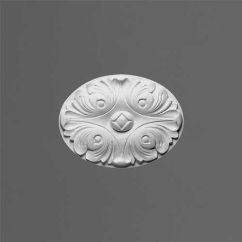 Orac D62 Oval Rose 6 1/8'' W x 4 9/16'' L use as medallion or can be an accessory for Pediment or Molding. Primed White Polyurethane by Orac Décor by Orac Décor