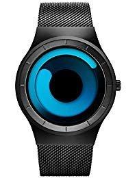 SINOBI Stylish Black Men's Watches Women's Quartz Wrist Watch with Unique Design and Stainless Steel Milanese Mesh Band by BUREI