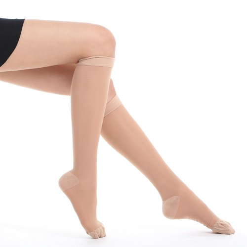 Fytto 1007 Women's Compression Socks, 15-20mmHg Sheer Knee High Hosiery - Professional Support for Travel, Varicose Veins & Pregnancy, Nude, Classic, (High Compression Hosiery)