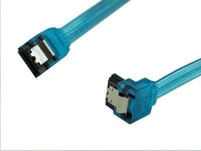 OKGear 18 inch SATA 3.0 cable,straight to right angle,UV blue - Silver Cables Okgear