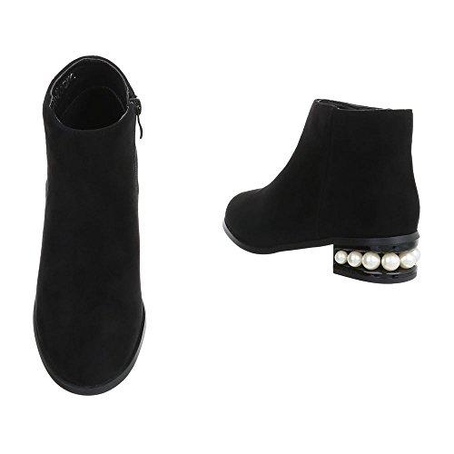 Ital-Design Chelsea Boots Damenschuhe Chelsea Boots Blockabsatz Blockabsatz Reißverschluss Stiefeletten Schwarz